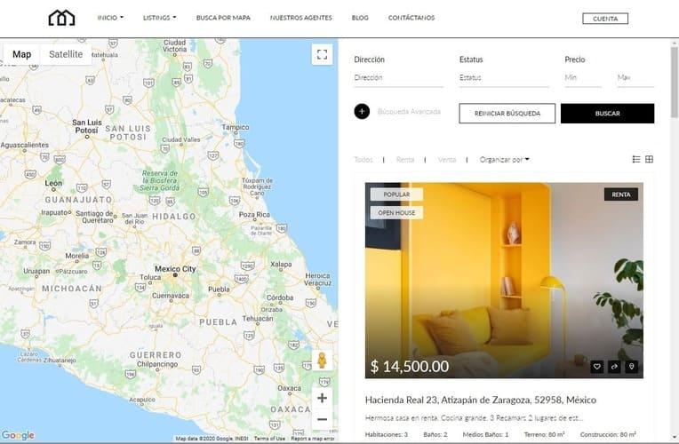 busqueda de propiedades en mapa
